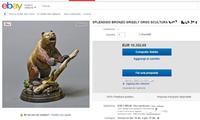 Statua orso Grizzly